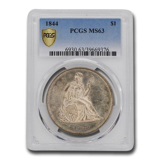 1844 Liberty Seated Dollar MS-63 PCGS