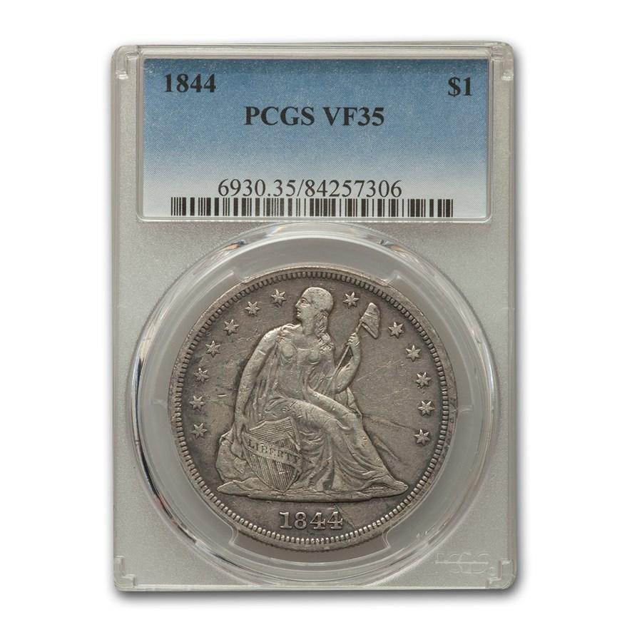 1844 Liberty Seated Dollar VF-35 PCGS