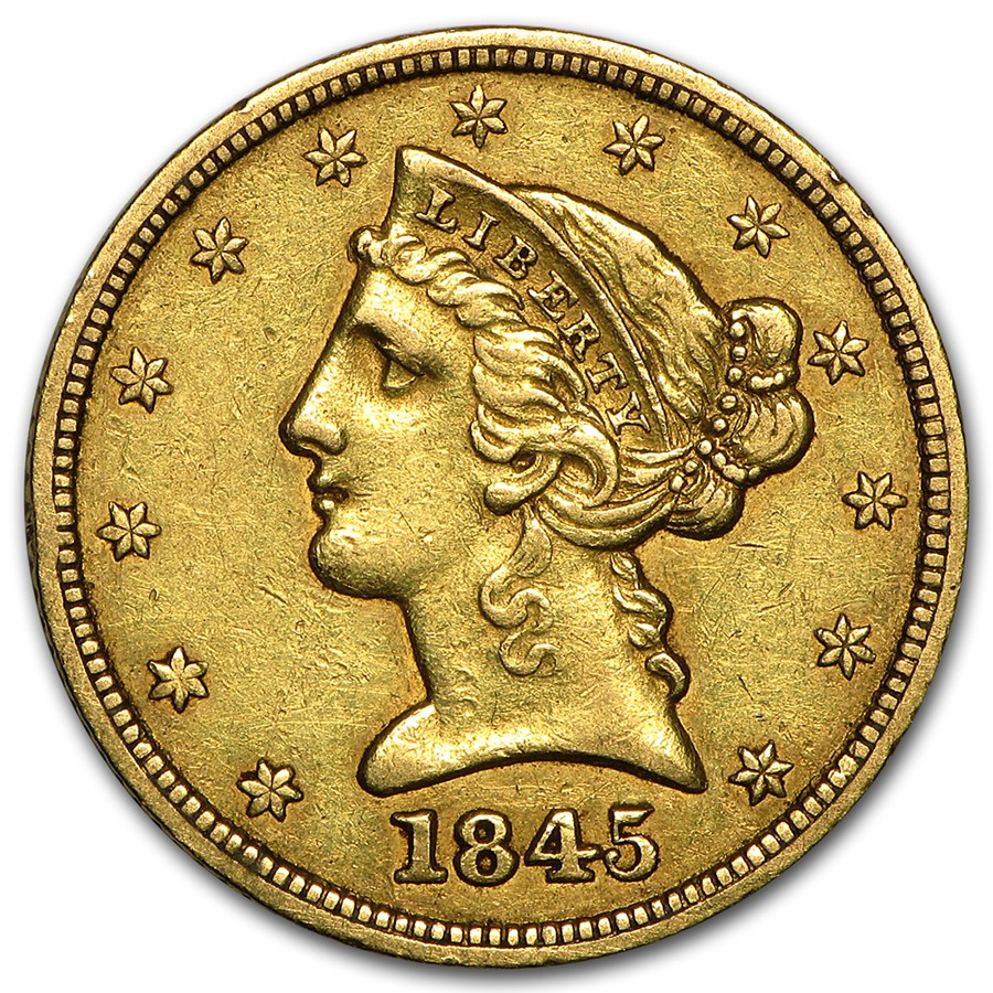 1845 $5 Liberty Gold Half Eagle XF