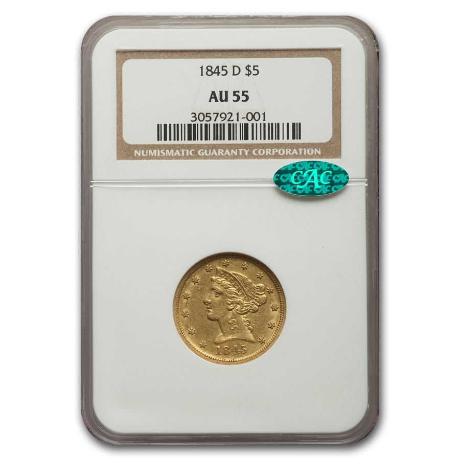 1845-D $5 Liberty Gold Half Eagle AU-55 NGC CAC