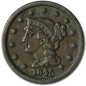 1845 Large Cent VF