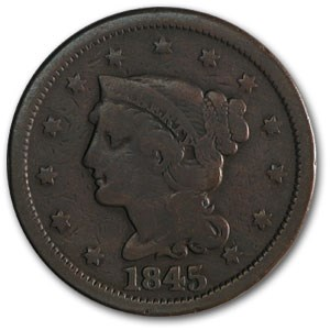 1845 Large Cent VG