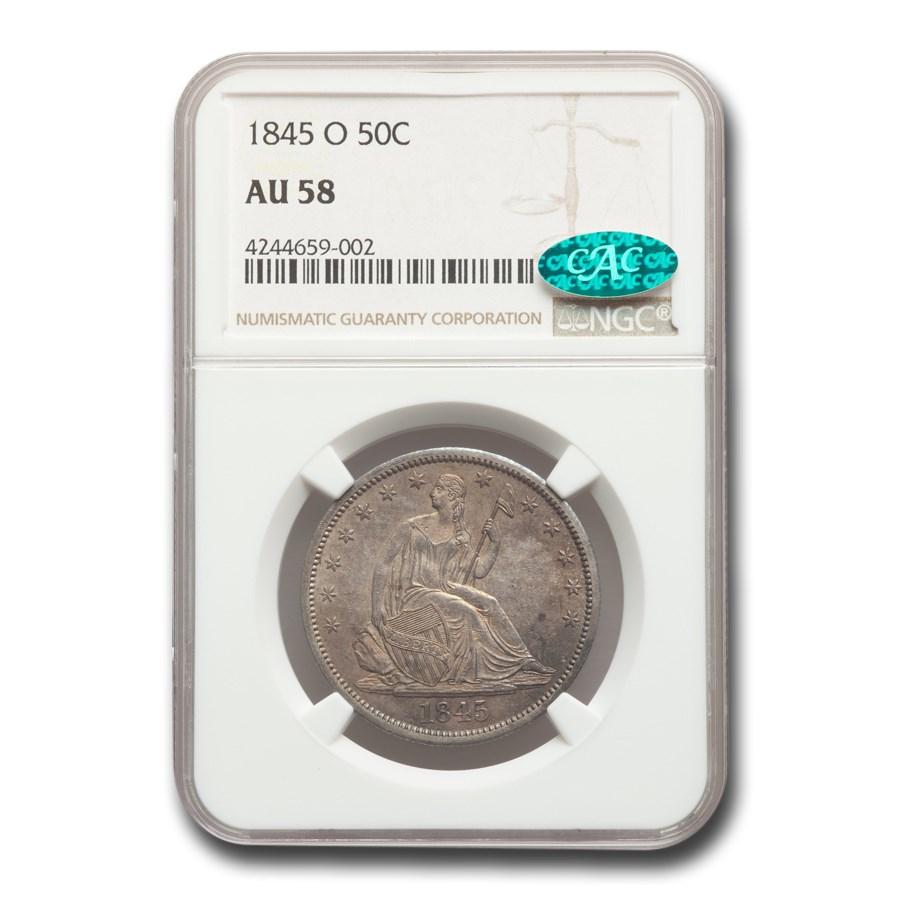 1845-O Liberty Seated Half Dollar AU-58 NGC CAC