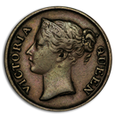 1845 Straits Settlements Copper 1/2 Cent Victoria XF (w/WW)