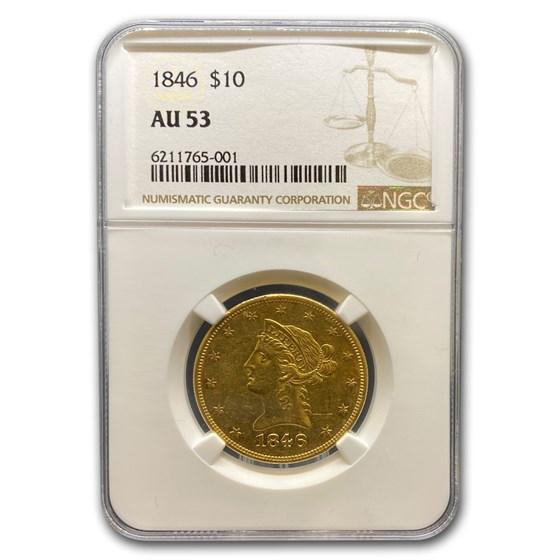 1846 $10 Liberty Gold Eagle AU-53 NGC