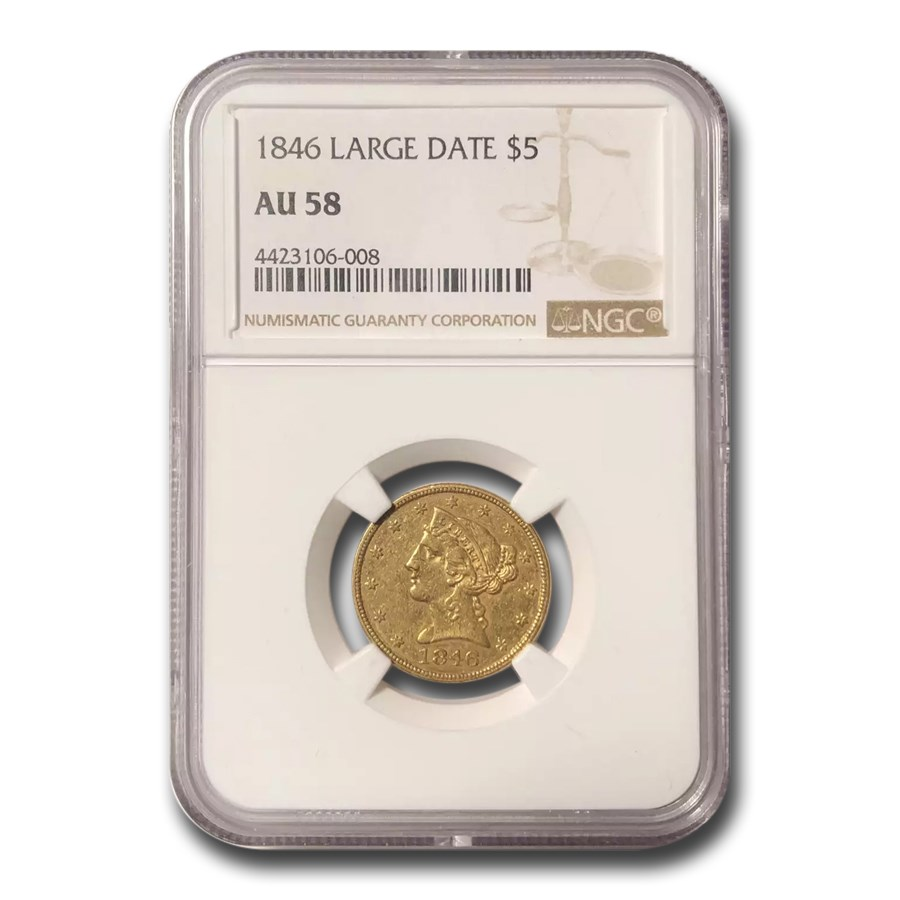 1846 $5 Liberty Gold Half Eagle AU-58 NGC (Large Date)