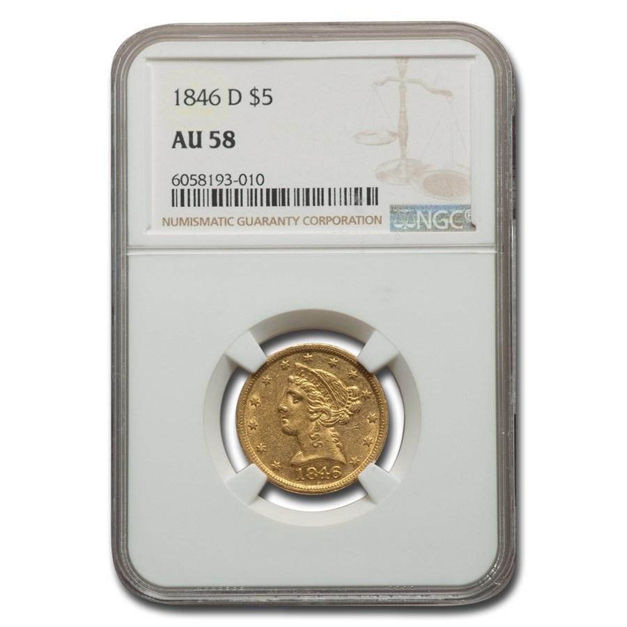 1846-D $5 Liberty Gold Half Eagle AU-58 NGC