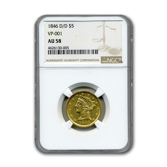 1846-D/D $5 Liberty Gold Half Eagle AU-58 NGC (VP-001)