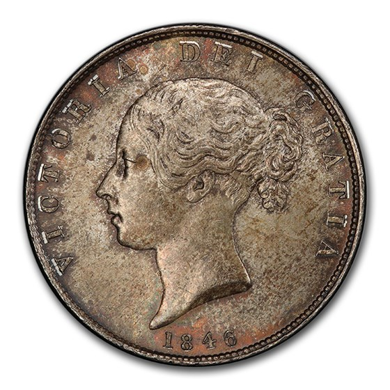 1846 Great Britain Silver Half Crown Victoria MS-64 PCGS