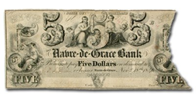 1846 Havre-de-Grace Bank of Havre-de-Grace, MD $5.00 MD-250 VF