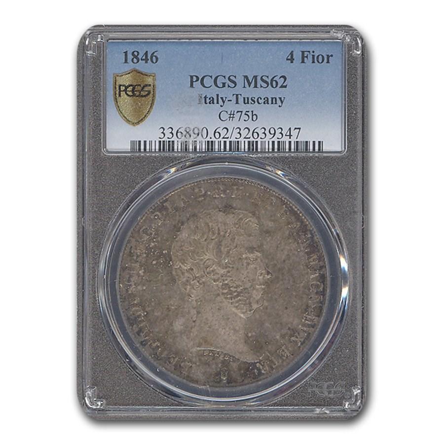 1846 Italy/Tuscany 4 Fiorini Leopold II MS-62 PCGS (C#75b)