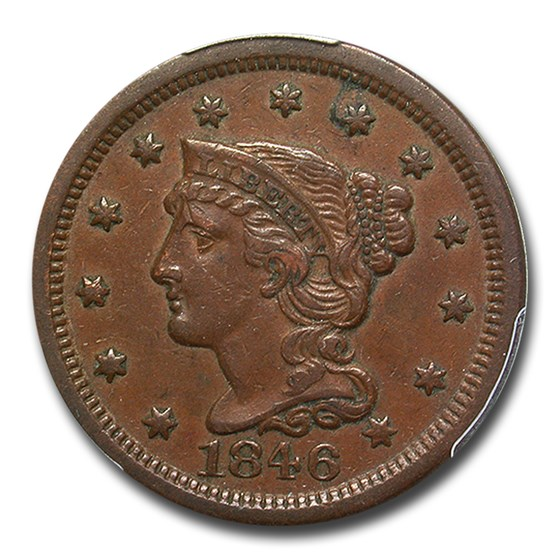 1846 Large Cent AU-53 PCGS (Small Date)