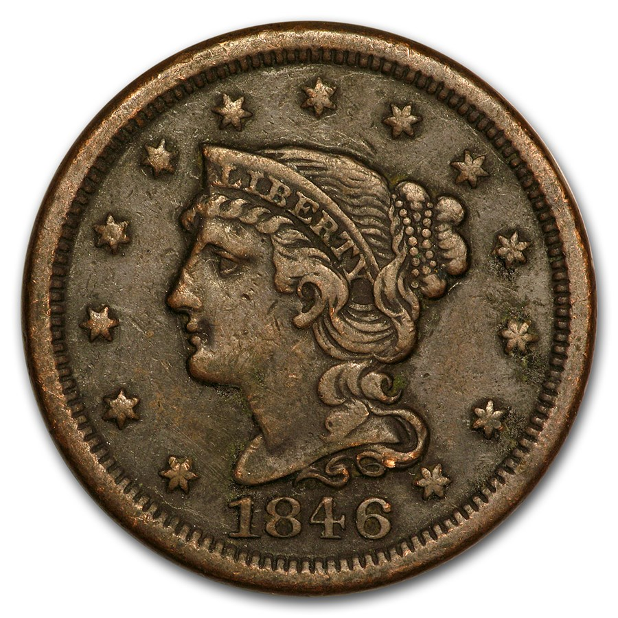 1846 Large Cent Medium Date VF