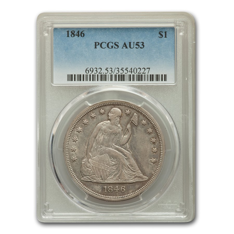 1846 Liberty Seated Dollar AU-53 PCGS