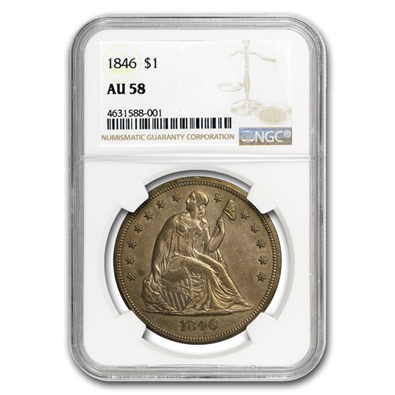 1846 Liberty Seated Dollar AU-58 NGC