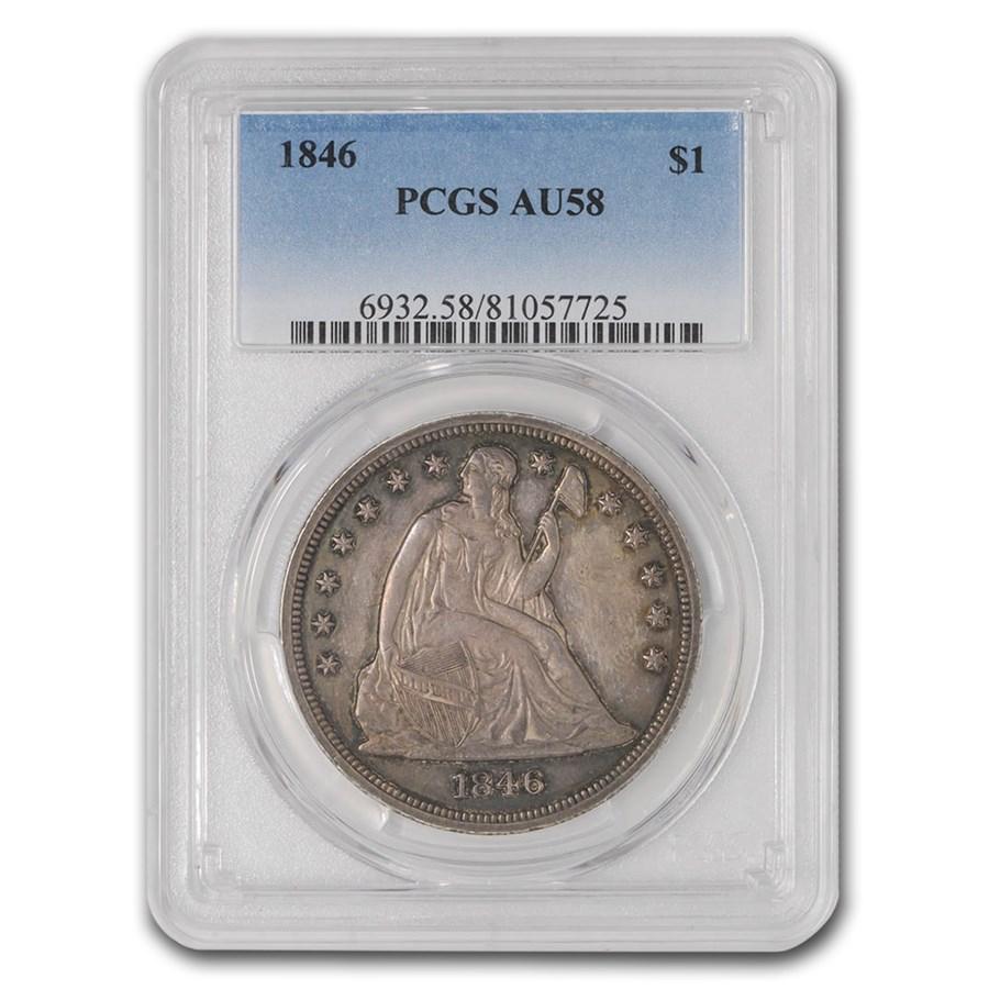 1846 Liberty Seated Dollar AU-58 PCGS