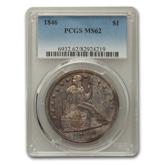 1846 Liberty Seated Dollar MS-62 PCGS