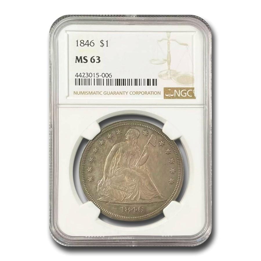1846 Liberty Seated Dollar MS-63 NGC
