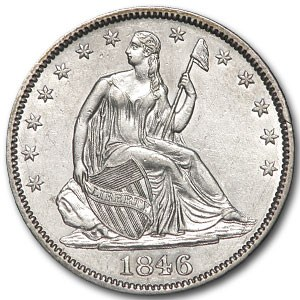 1846 Liberty Seated Half Dollar MS-60 Details (Cleaned)