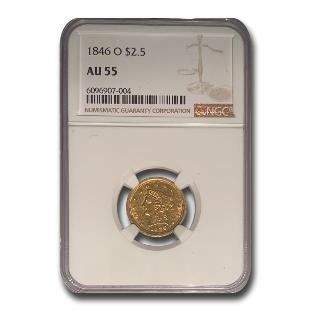 1846-O $2.50 Liberty Gold Quarter Eagle AU-55 NGC
