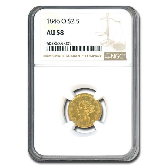 1846-O $2.50 Liberty Gold Quarter Eagle AU-58 NGC