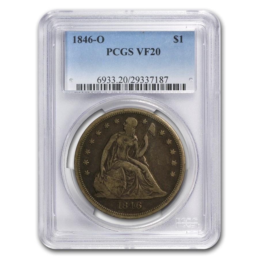 1846-O Liberty Seated Dollar VF-20 PCGS