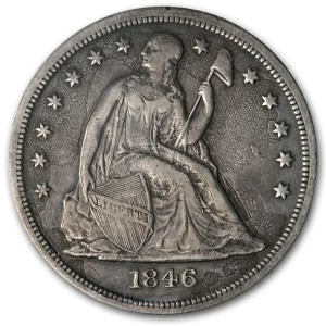 1846-O Liberty Seated Dollar XF Details (Pitted)