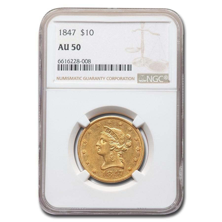 1847 $10 Liberty Gold Eagle AU-50 NGC