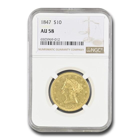 1847 $10 Liberty Gold Eagle AU-58 NGC