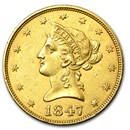 1847 $10 Liberty Gold Eagle AU