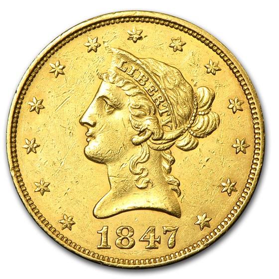 1847 $10 Liberty Gold Eagle AU