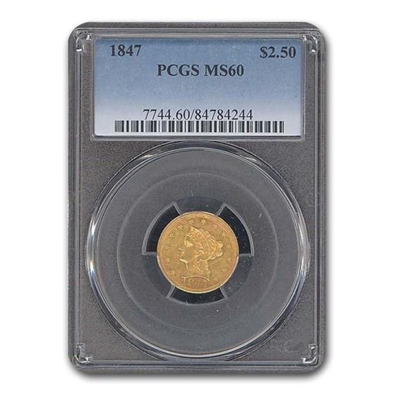 1847 $2.50 Liberty Gold Quarter Eagle MS-60 PCGS