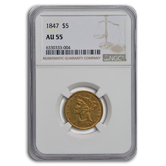 1847 $5 Liberty Gold Half Eagle AU-55 NGC