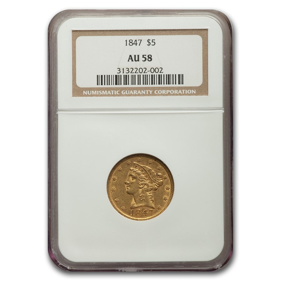 1847 $5 Liberty Gold Half Eagle AU-58 NGC