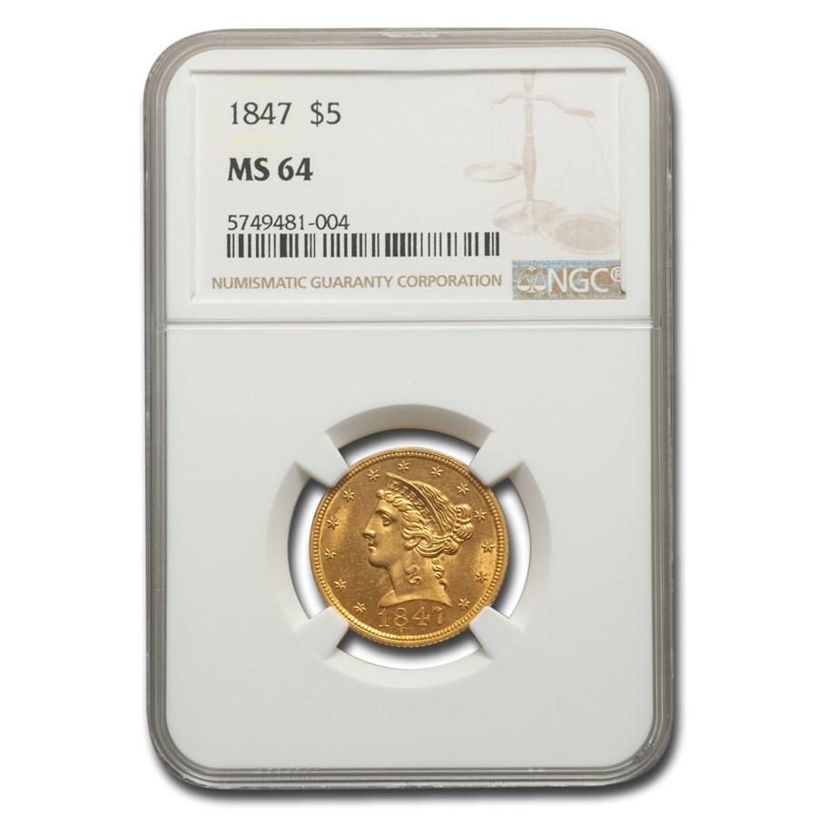 1847 $5 Liberty Gold Half Eagle MS-64 NGC