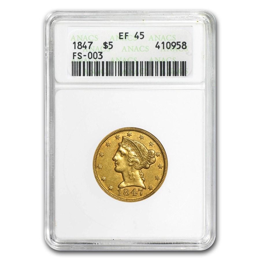 1847 $5 Liberty Gold Half Eagle XF (MPD FS-003)