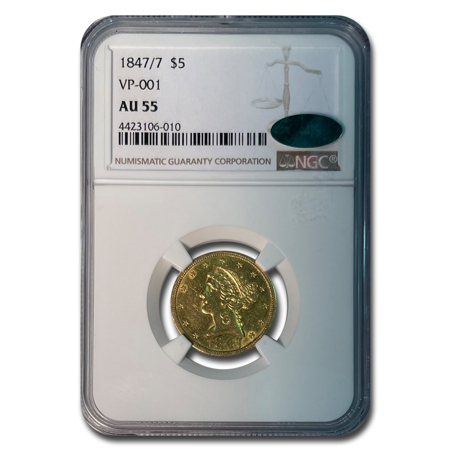 1847/7 $5 Liberty Gold Half Eagle AU-55 NGC CAC (VP-001)