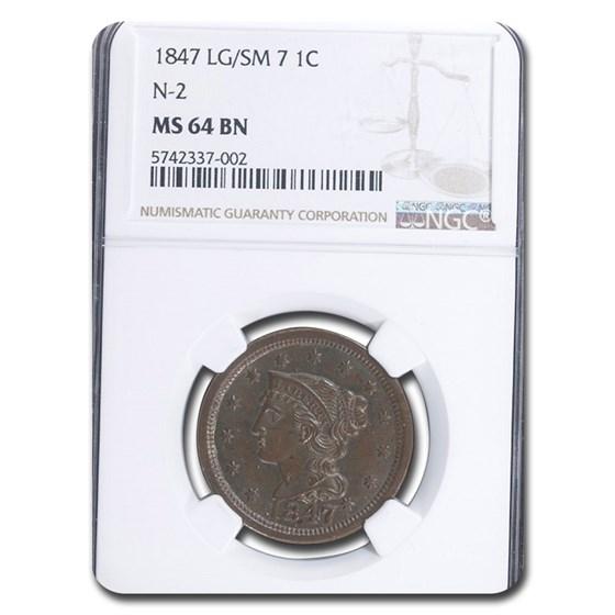 1847/7 Large Cent MS-64 NGC (Brown, N-2, Lg/Sm 7)