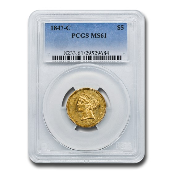 1847-C $5 Liberty Gold Half Eagle MS-61 PCGS