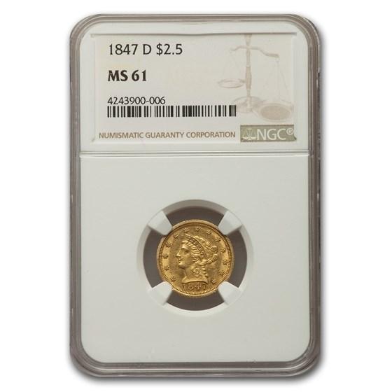 1847-D $2.50 Liberty Gold Quarter Eagle MS-61 NGC