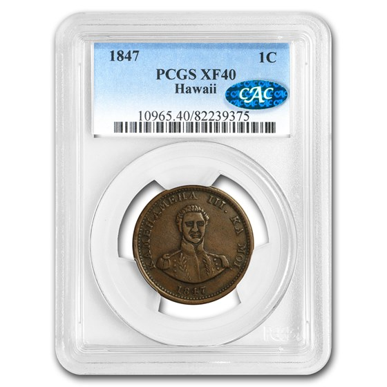 1847 Hawaii Cent XF-40 PCGS CAC