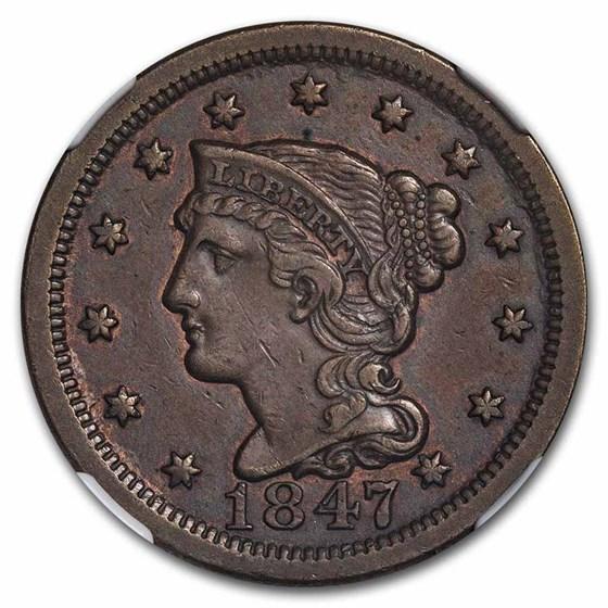 1847 Large Cent AU-50 NGC