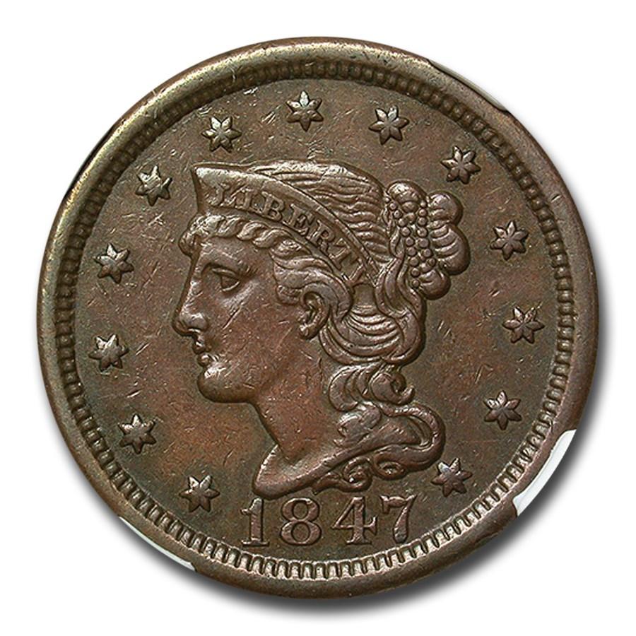 1847 Large Cent AU-53 NGC