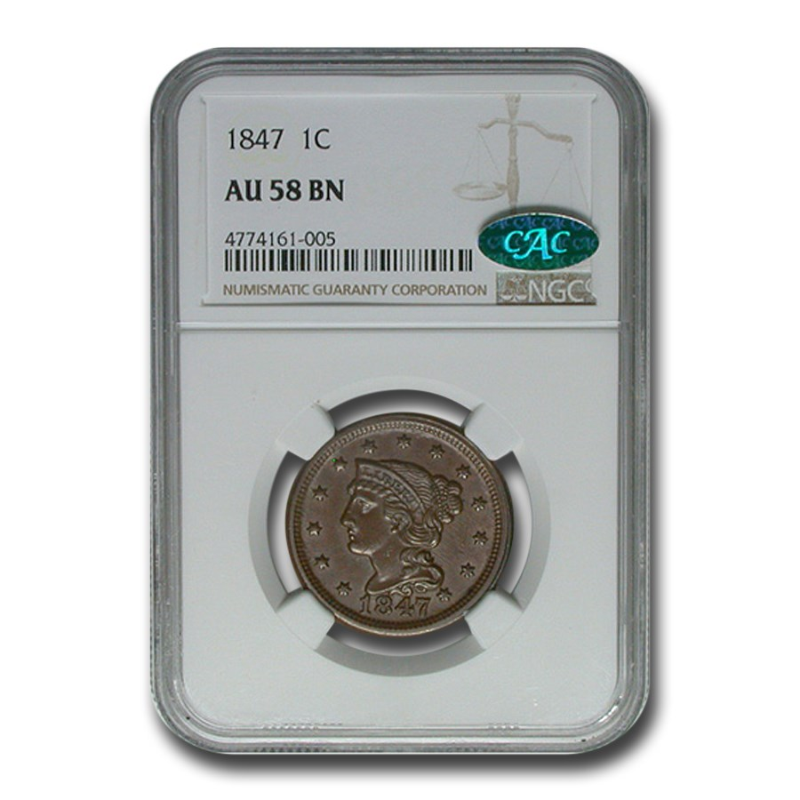 1847 Large Cent AU-58 NGC CAC (Brown)