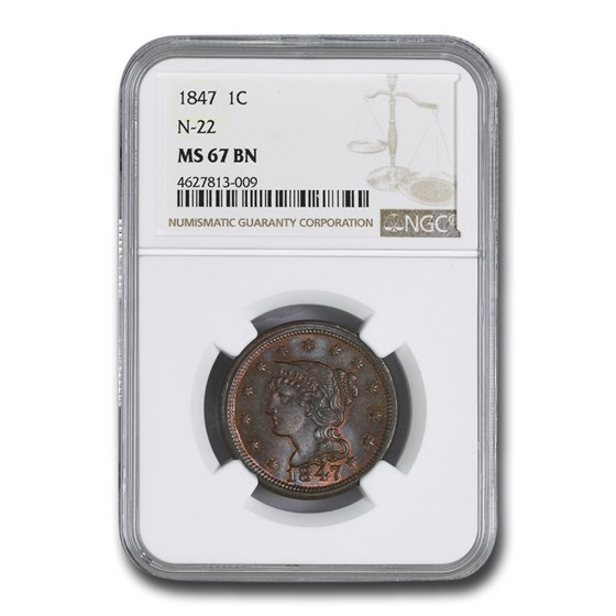 1847 Large Cent MS-67 NGC (Brown, N-22)