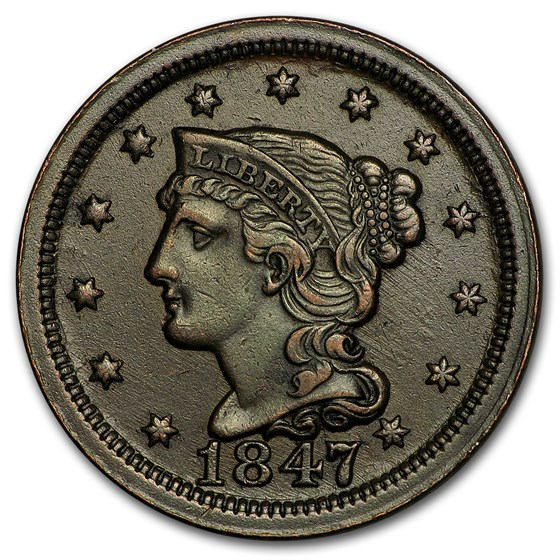 1847 Large Cent XF