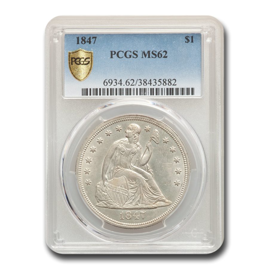1847 Liberty Seated Dollar MS-62 PCGS