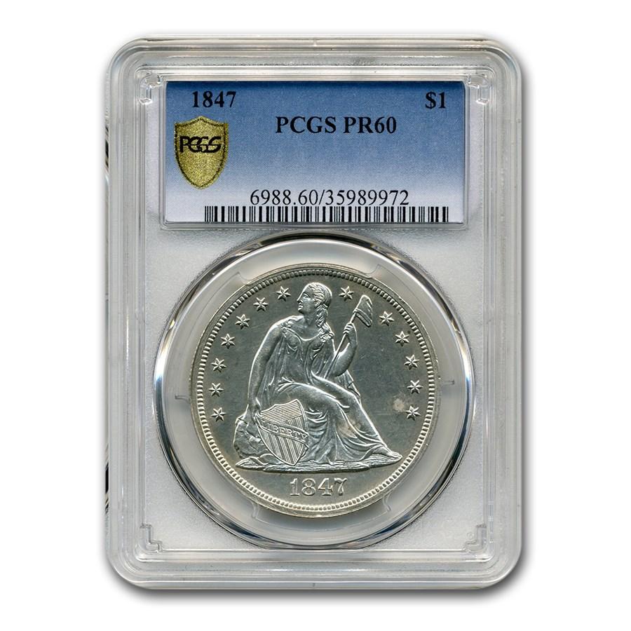 1847 Liberty Seated Dollar PR-60 PCGS