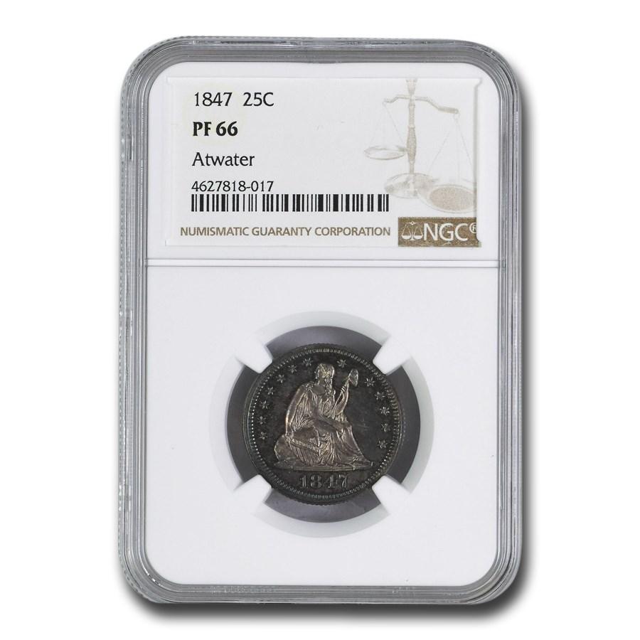 1847 Liberty Seated Quarter PF-66 NGC