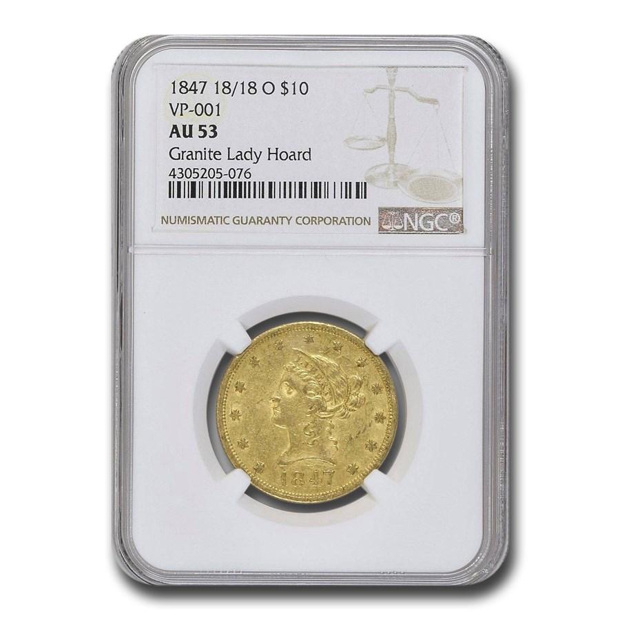 1847-O $10 Liberty Gold Eagle AU-53 NGC (VP-001)